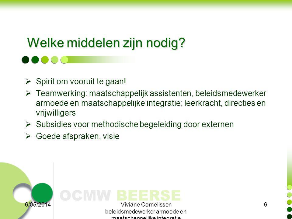 OCMW BEERSE Welke middelen zijn nodig?  Spirit om vooruit te gaan!  Teamwerking: maatschappelijk assistenten, beleidsmedewerker armoede en maatschap