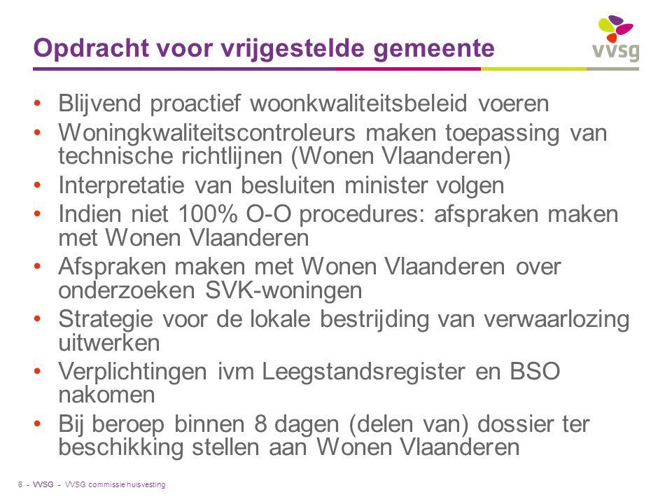 VVSG - Ondersteuning Technische vorming door Wonen Vlaanderen Structureel overleg met de vrijgestelde gemeente Minister kan toegekende vrijstelling op verzoek van de gemeenteraad of als niet meer aan de vereisten is voldaan opschorten of intrekken voor bepaalde periode VVSG commissie huisvesting7 -