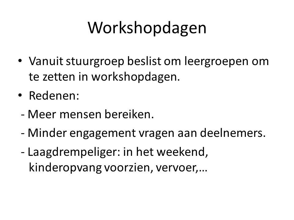 Workshopdagen Vanuit stuurgroep beslist om leergroepen om te zetten in workshopdagen. Redenen: - Meer mensen bereiken. - Minder engagement vragen aan