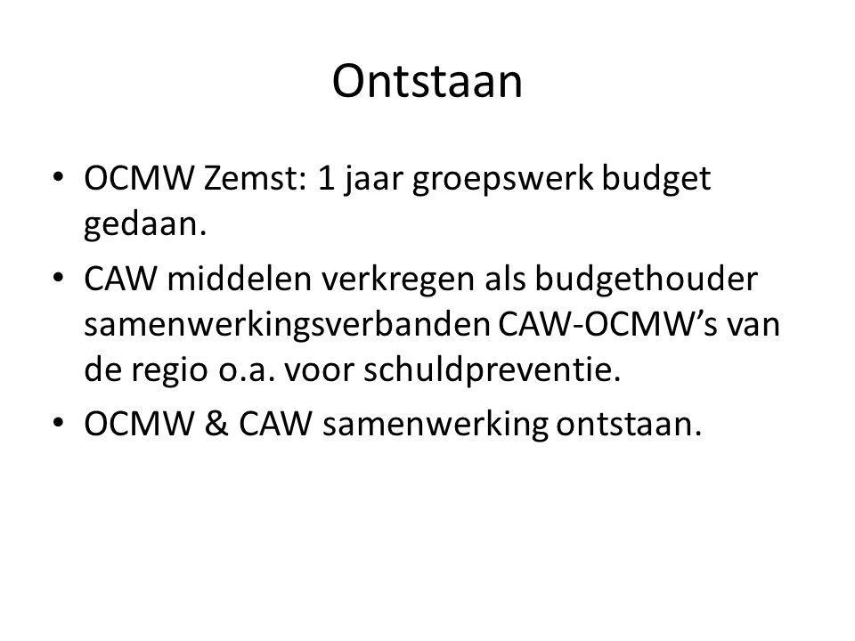 Ontstaan OCMW Zemst: 1 jaar groepswerk budget gedaan. CAW middelen verkregen als budgethouder samenwerkingsverbanden CAW-OCMW's van de regio o.a. voor