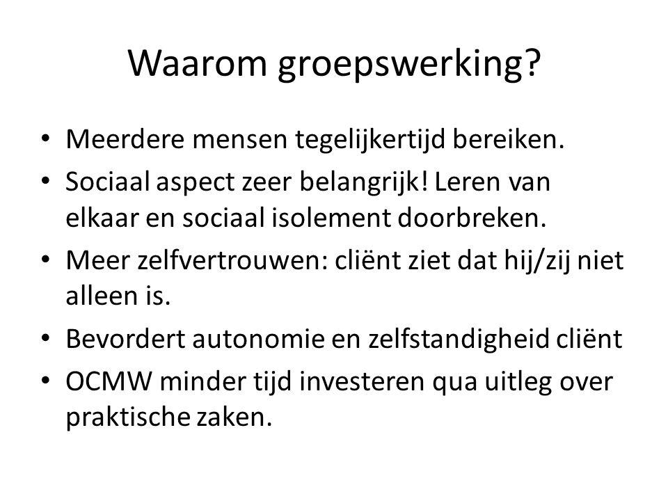 Evaluatie Gedurende de leergroepen was er feedback tussen OCMW – CAW.