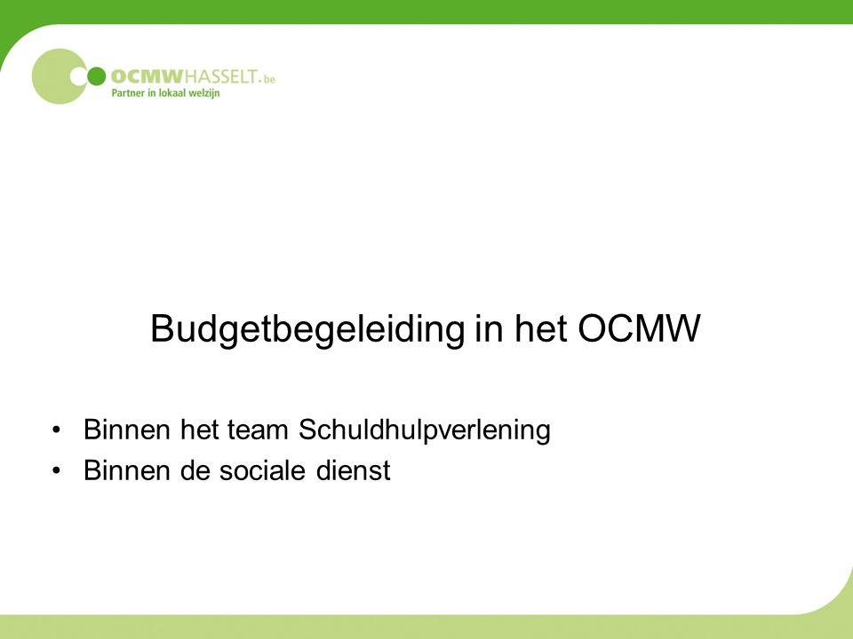 Budgetbegeleiding in het OCMW Binnen het team Schuldhulpverlening Binnen de sociale dienst
