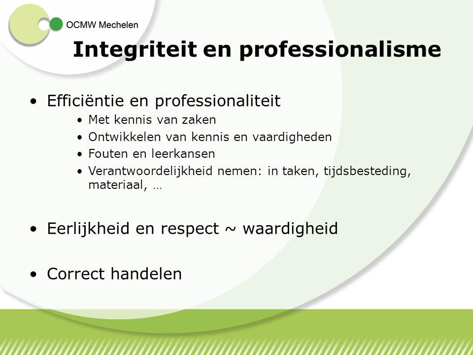 Integriteit en professionalisme Efficiëntie en professionaliteit Met kennis van zaken Ontwikkelen van kennis en vaardigheden Fouten en leerkansen Vera