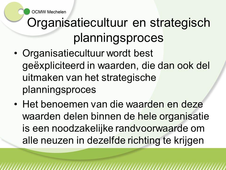 Strategisch planningsconcept: MISSIE ->WAARDEN -> VISIE ->STRATEGIE Missie : waarvoor we staan, geeft het bestaansrecht van de organisatie Waarden: waar we in geloven, hoe we omgaan met elkaar, met de klanten en met derden Visie : waarvoor we gaan, in welke richting de organisatie uit moet zodat het de personeelsleden helpt in te zien waarom en hoe ze hun bijdrage aan de organisatie moeten leveren Strategie wordt ontwikkeld om de visie te realiseren, rekening houdende met de veranderende voorwaarden die de buitenwereld stelt