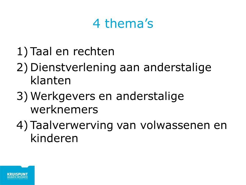 4 thema's 1)Taal en rechten 2)Dienstverlening aan anderstalige klanten 3)Werkgevers en anderstalige werknemers 4)Taalverwerving van volwassenen en kin