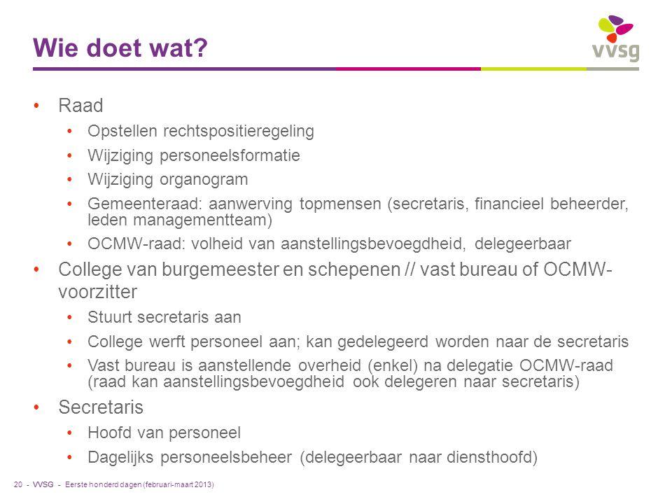 VVSG - Wie doet wat? Raad Opstellen rechtspositieregeling Wijziging personeelsformatie Wijziging organogram Gemeenteraad: aanwerving topmensen (secret