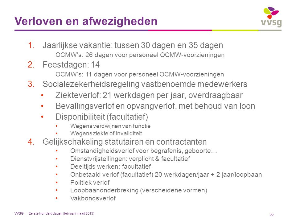 VVSG - Verloven en afwezigheden 1.Jaarlijkse vakantie: tussen 30 dagen en 35 dagen OCMW's: 26 dagen voor personeel OCMW-voorzieningen 2.Feestdagen: 14 OCMW's: 11 dagen voor personeel OCMW-voorzieningen 3.Socialezekerheidsregeling vastbenoemde medewerkers Ziekteverlof: 21 werkdagen per jaar, overdraagbaar Bevallingsverlof en opvangverlof, met behoud van loon Disponibiliteit (facultatief) Wegens verdwijnen van functie Wegens ziekte of invaliditeit 4.Gelijkschakeling statutairen en contractanten Omstandigheidsverlof voor begrafenis, geboorte… Dienstvrijstellingen: verplicht & facultatief Deeltijds werken: facultatief Onbetaald verlof (facultatief) 20 werkdagen/jaar + 2 jaar/loopbaan Politiek verlof Loopbaanonderbreking (verscheidene vormen) Vakbondsverlof 22 Eerste honderd dagen (februari-maart 2013)
