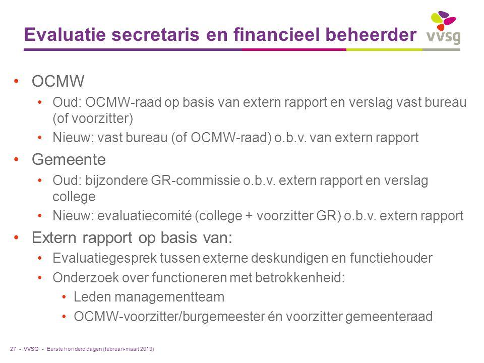 VVSG - Evaluatie secretaris en financieel beheerder OCMW Oud: OCMW-raad op basis van extern rapport en verslag vast bureau (of voorzitter) Nieuw: vast bureau (of OCMW-raad) o.b.v.