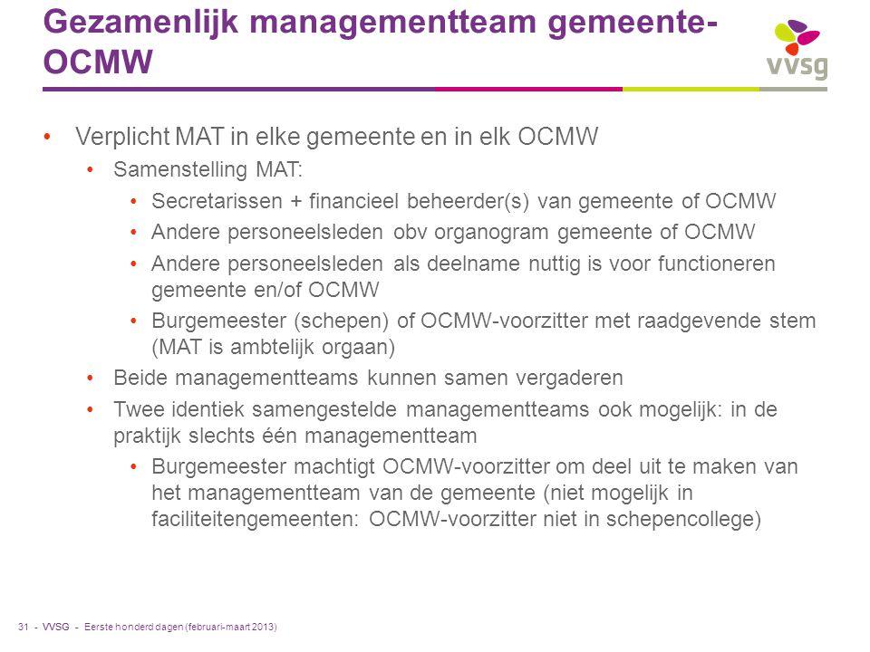 VVSG - Gezamenlijk managementteam gemeente- OCMW Verplicht MAT in elke gemeente en in elk OCMW Samenstelling MAT: Secretarissen + financieel beheerder