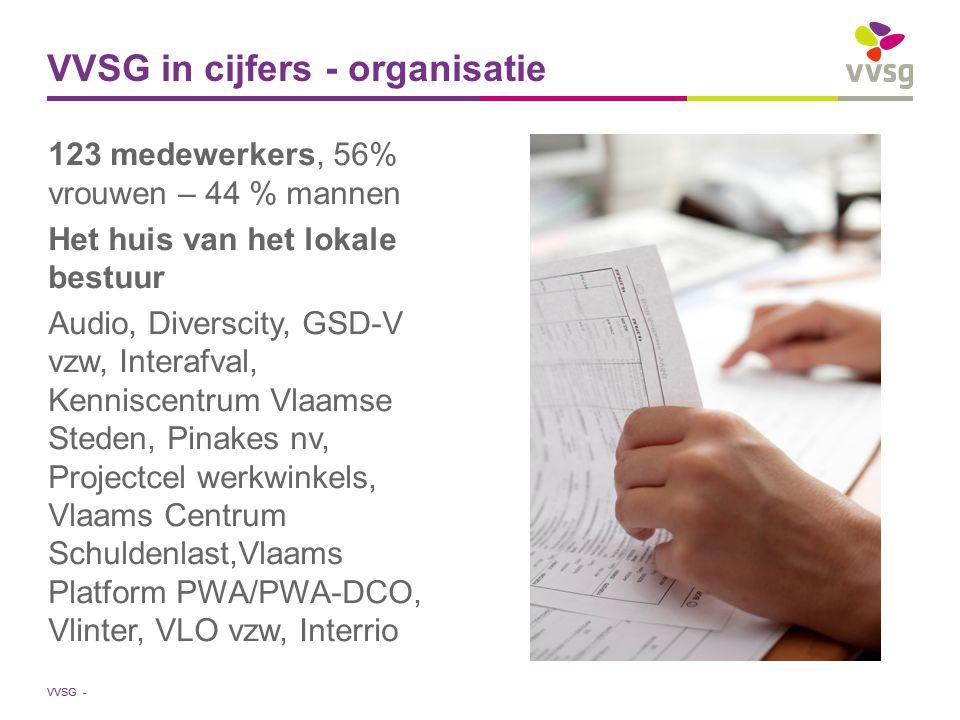 VVSG - 123 medewerkers, 56% vrouwen – 44 % mannen Het huis van het lokale bestuur Audio, Diverscity, GSD-V vzw, Interafval, Kenniscentrum Vlaamse Steden, Pinakes nv, Projectcel werkwinkels, Vlaams Centrum Schuldenlast,Vlaams Platform PWA/PWA-DCO, Vlinter, VLO vzw, Interrio VVSG in cijfers - organisatie