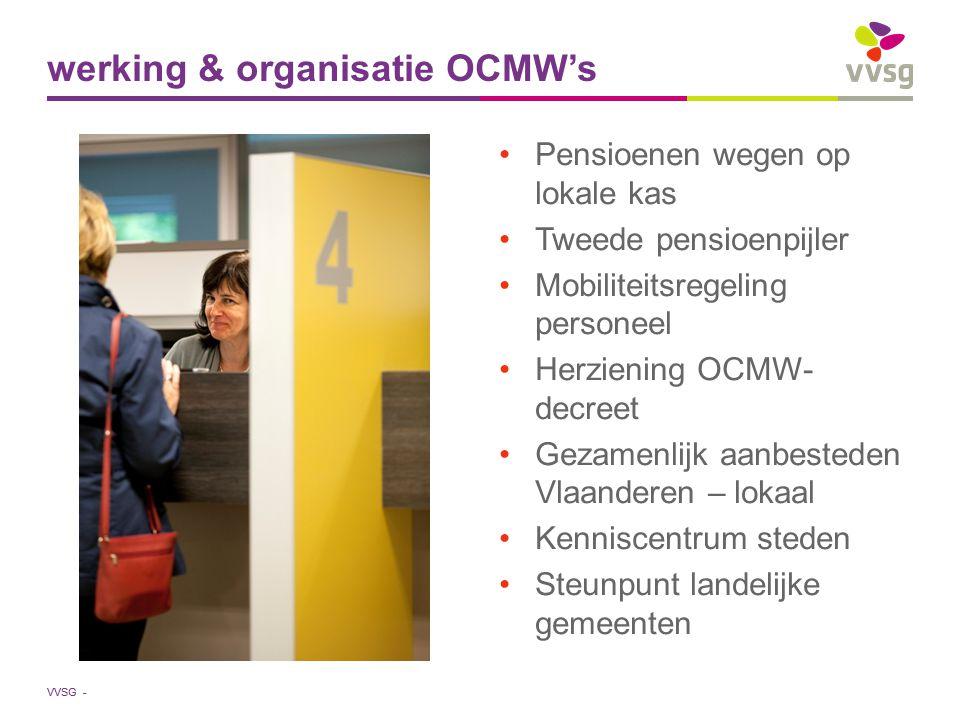 VVSG - Pensioenen wegen op lokale kas Tweede pensioenpijler Mobiliteitsregeling personeel Herziening OCMW- decreet Gezamenlijk aanbesteden Vlaanderen – lokaal Kenniscentrum steden Steunpunt landelijke gemeenten werking & organisatie OCMW's