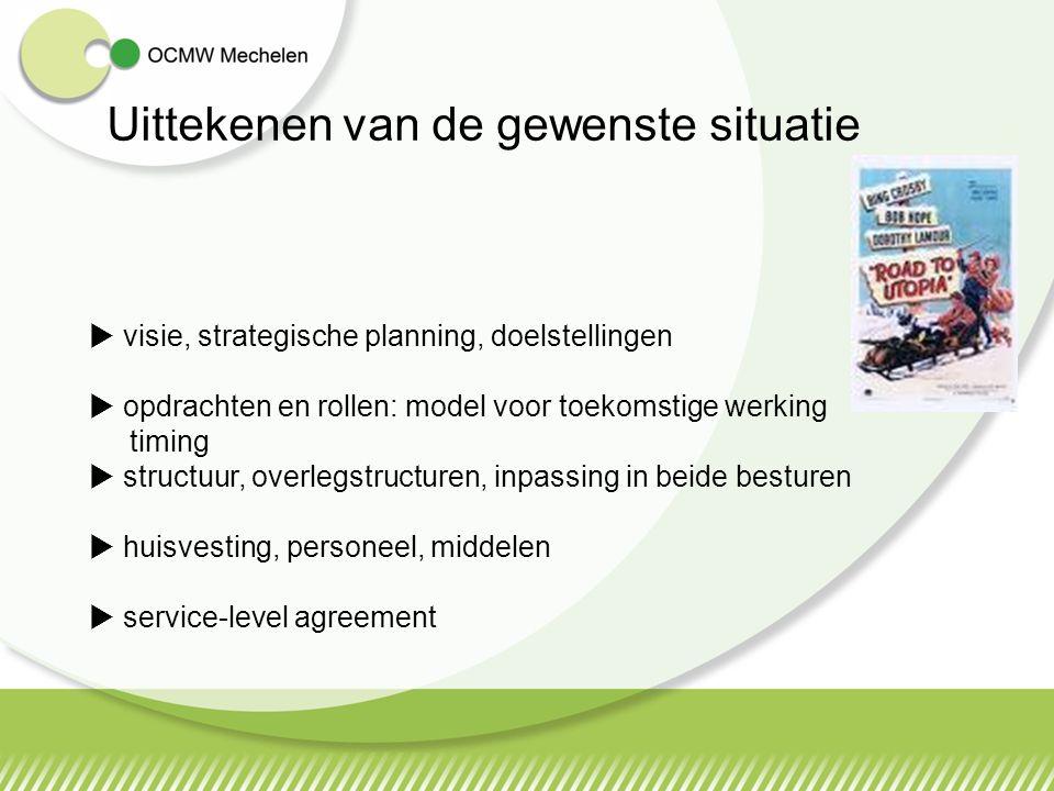 Uittekenen van de gewenste situatie  visie, strategische planning, doelstellingen  opdrachten en rollen: model voor toekomstige werking timing  structuur, overlegstructuren, inpassing in beide besturen  huisvesting, personeel, middelen  service-level agreement