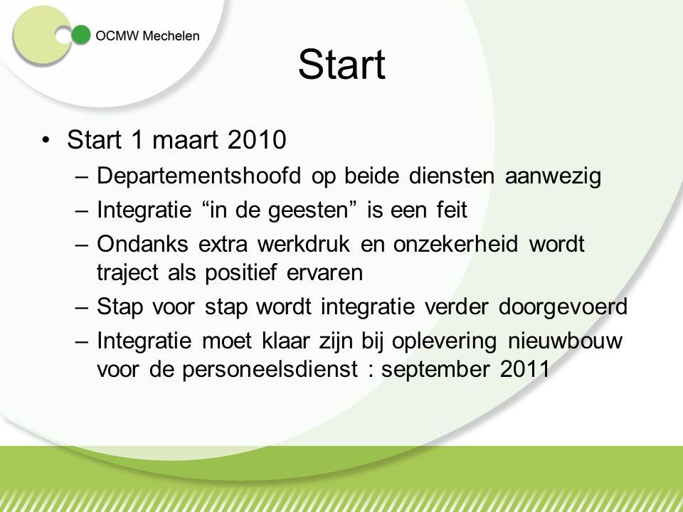 """Start 1 maart 2010 –Departementshoofd op beide diensten aanwezig –Integratie """"in de geesten"""" is een feit –Ondanks extra werkdruk en onzekerheid wordt"""