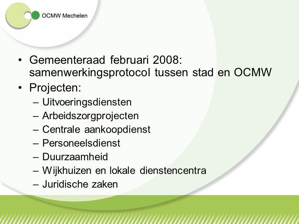 Gemeenteraad februari 2008: samenwerkingsprotocol tussen stad en OCMW Projecten: –Uitvoeringsdiensten –Arbeidszorgprojecten –Centrale aankoopdienst –P