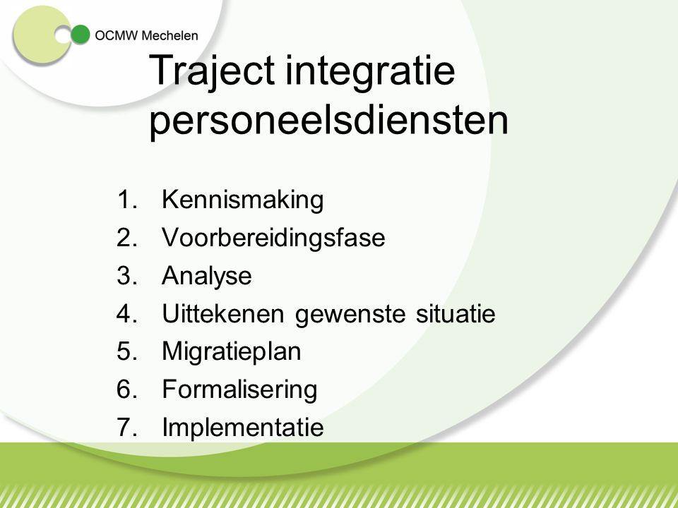 1.Kennismaking 2.Voorbereidingsfase 3.Analyse 4.Uittekenen gewenste situatie 5.Migratieplan 6.Formalisering 7.Implementatie Traject integratie personeelsdiensten