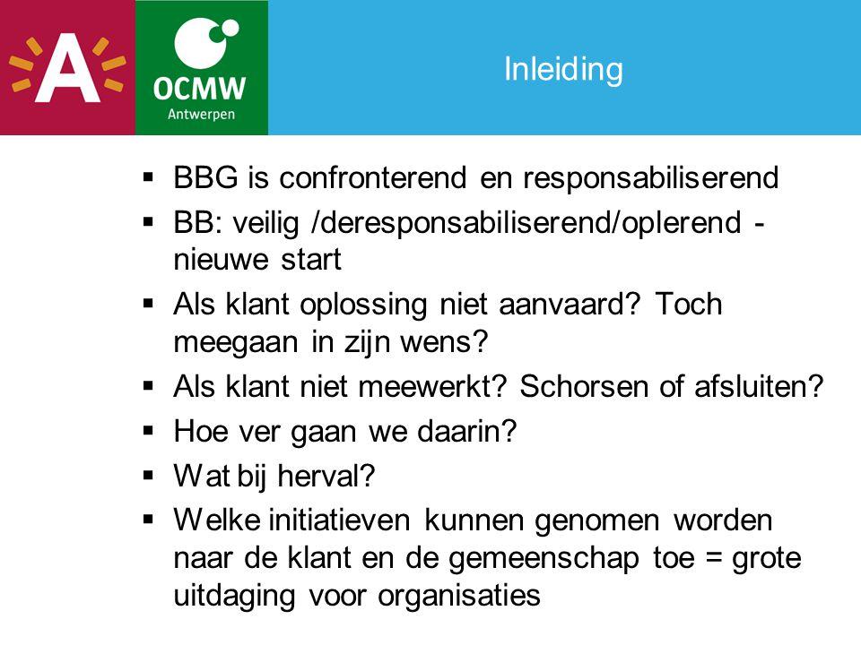 Inleiding  BBG is confronterend en responsabiliserend  BB: veilig /deresponsabiliserend/oplerend - nieuwe start  Als klant oplossing niet aanvaard.