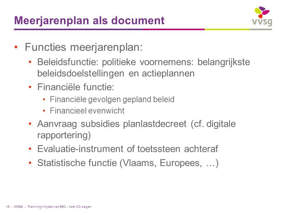 VVSG - Meerjarenplan als document Functies meerjarenplan: Beleidsfunctie: politieke voornemens: belangrijkste beleidsdoelstellingen en actieplannen Financiële functie: Financiële gevolgen gepland beleid Financieel evenwicht Aanvraag subsidies planlastdecreet (cf.