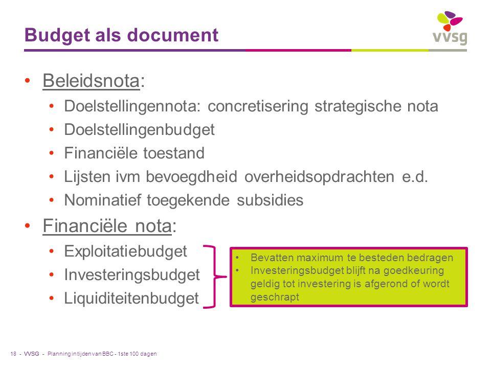 VVSG - Budget als document Beleidsnota: Doelstellingennota: concretisering strategische nota Doelstellingenbudget Financiële toestand Lijsten ivm bevoegdheid overheidsopdrachten e.d.