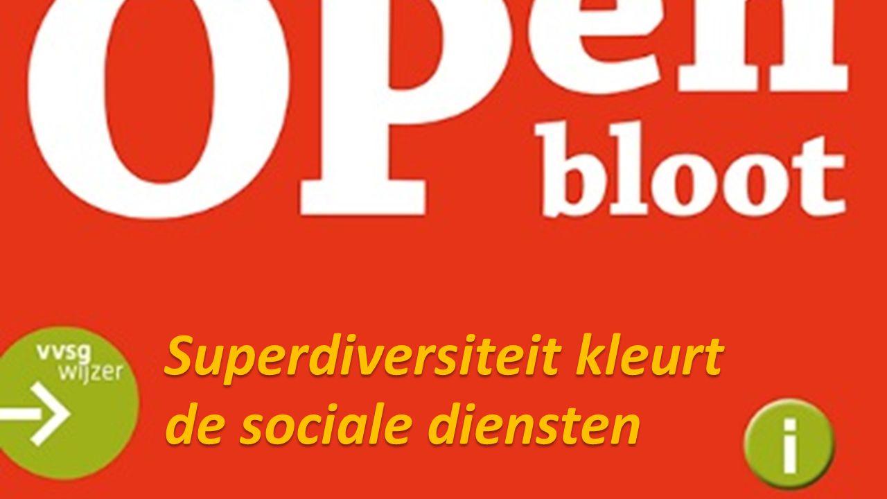 Superdiversiteit in de diensten Antwerpen (2012): 77% van de cliënten van het OCMW zijn van buitenlandse herkomst (Pauwels e.a., 2012) Gent (2012): 65% van de cliënten van het OCMW zijn van buitenlandse herkomst (Pauwels e.a., 2012) Leuven (2009): Belgen (47%) – Nieuwe Belgen (12%) – Vreemdelingen (41%) De link met gekleurde armoede