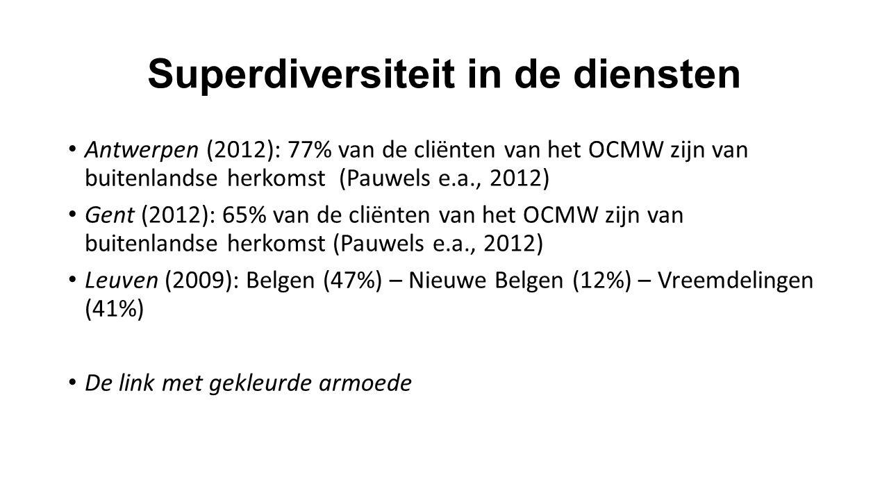 Superdiversiteit in de diensten Antwerpen (2012): 77% van de cliënten van het OCMW zijn van buitenlandse herkomst (Pauwels e.a., 2012) Gent (2012): 65