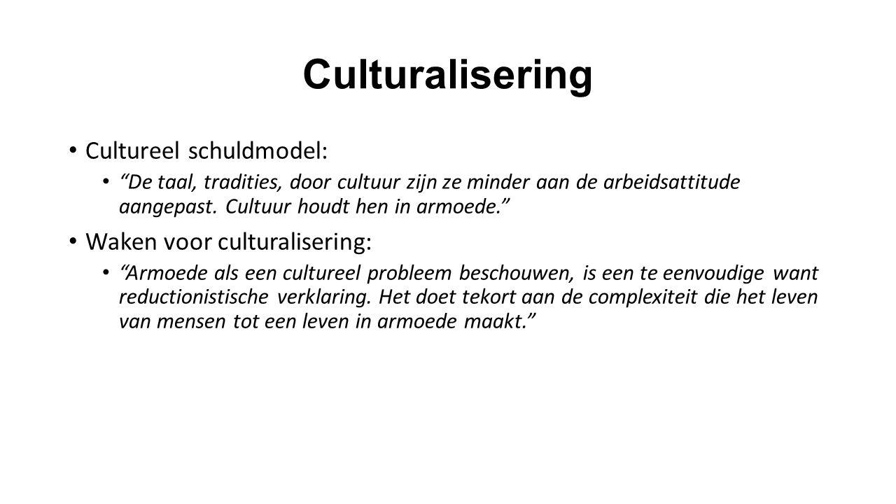 """Culturalisering Cultureel schuldmodel: """"De taal, tradities, door cultuur zijn ze minder aan de arbeidsattitude aangepast. Cultuur houdt hen in armoede"""