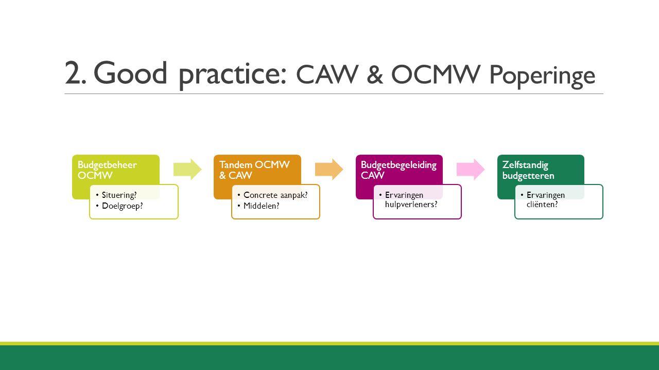 2. Good practice: CAW & OCMW Poperinge Budgetbeheer OCMW Situering? Doelgroep? Tandem OCMW & CAW Concrete aanpak? Middelen? Budgetbegeleiding CAW Erva