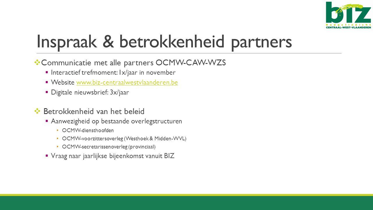 Inspraak & betrokkenheid partners  Communicatie met alle partners OCMW-CAW-WZS  Interactief trefmoment: 1x/jaar in november  Website www.biz-centra