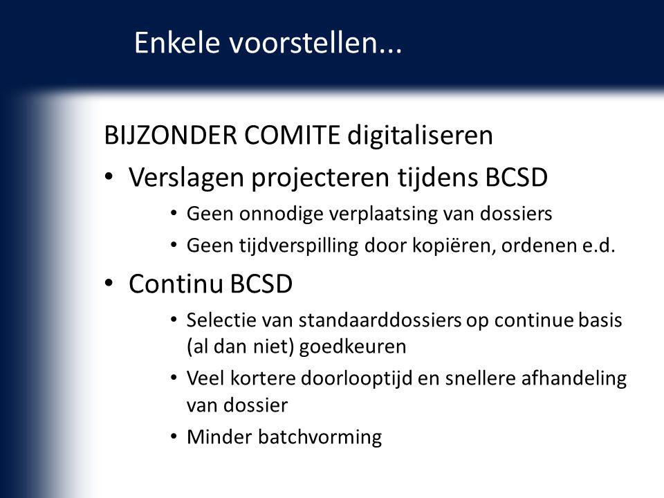 BIJZONDER COMITE digitaliseren Verslagen projecteren tijdens BCSD Geen onnodige verplaatsing van dossiers Geen tijdverspilling door kopiëren, ordenen