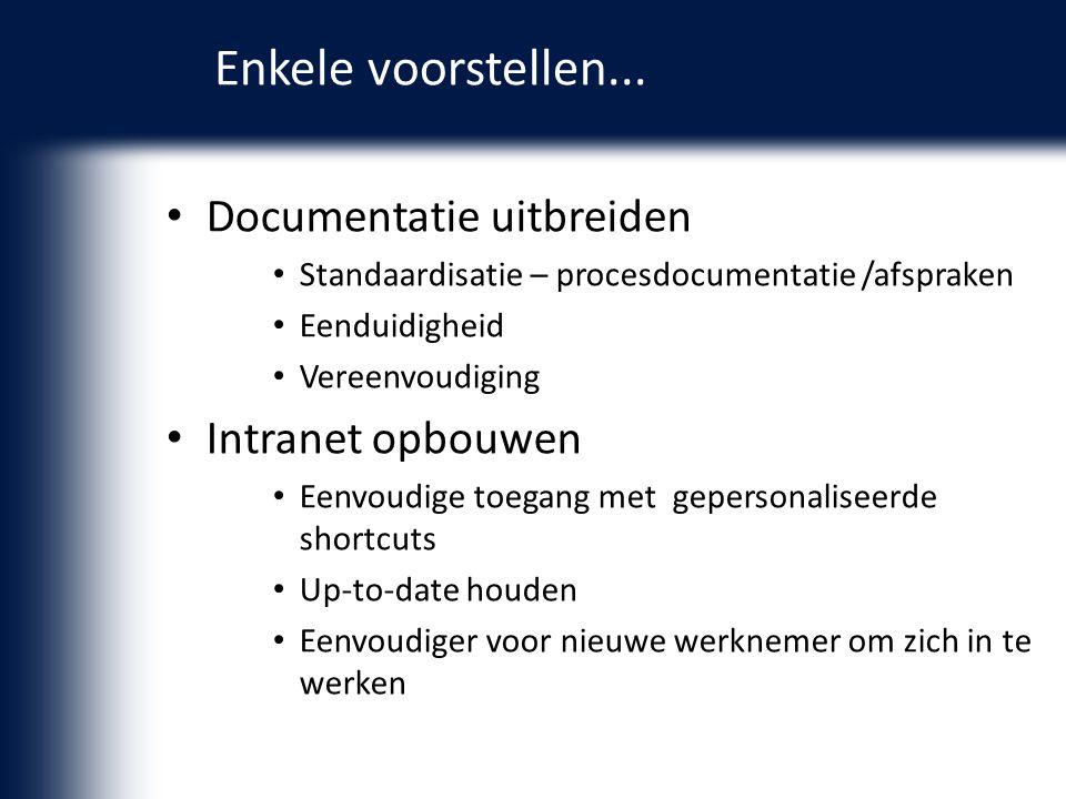 Documentatie uitbreiden Standaardisatie – procesdocumentatie /afspraken Eenduidigheid Vereenvoudiging Intranet opbouwen Eenvoudige toegang met geperso