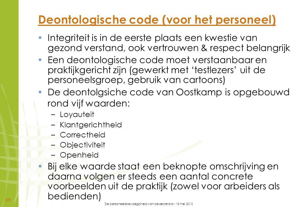 De personeelsbevoegdheid van de secretaris - 18 mei 2010 29 Deontologische code (voor het personeel) Integriteit is in de eerste plaats een kwestie va