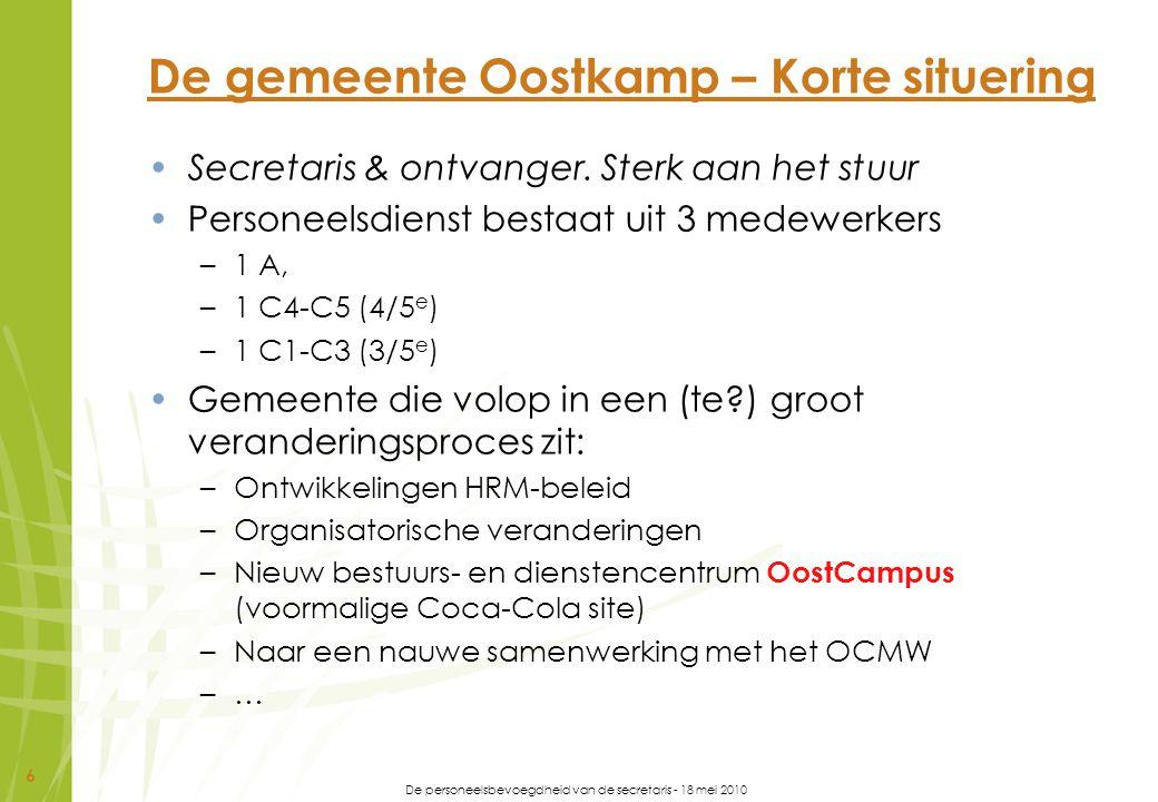 De personeelsbevoegdheid van de secretaris - 18 mei 2010 17 OOSTKAMP (3)ZIJN (9)DOEN (6) 1.Dynamisch 2.Klantgericht 3.Professioneel 1.360° inlevingsvermogen 2.Accuraat 3.Besluitvaardig 4.Flexibel 5.Integer 6.Loyaal 7.Stressbestendig 8.Volhardend 1.Initiatief nemen 2.Plannen en organiseren 3.Resultaatgericht werken 4.Samenwerken 5.Zelfontwikkelen 6.Zelfstandig werken COMMUNICEREN (8)DENKEN (5)LEIDEN (4) 1.Conflicten hanteren 2.Luisteren 3.Mondeling communiceren 4.Netwerken 5.Overtuigen 6.Schriftelijk communiceren 7.Visie uitdragen 1.Analytisch denken 2.Conceptueel denken 3.Creatief denken 4.Synthetisch denken 5.Visie ontwikkelen 1.Coachen 2.Delegeren 3.Leiding geven De Oostkampse competenties