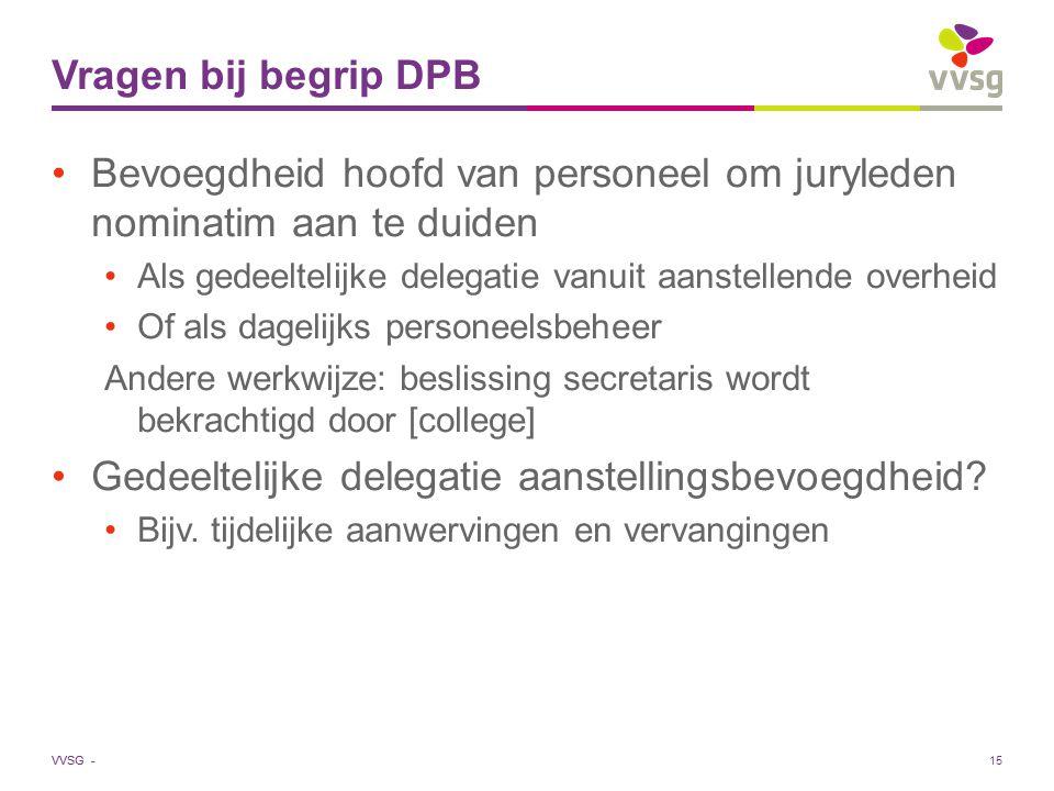 VVSG - Vragen bij begrip DPB Bevoegdheid hoofd van personeel om juryleden nominatim aan te duiden Als gedeeltelijke delegatie vanuit aanstellende over