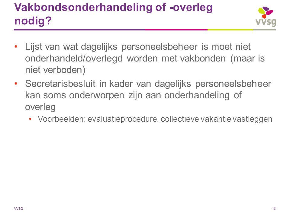 VVSG - Vakbondsonderhandeling of -overleg nodig? Lijst van wat dagelijks personeelsbeheer is moet niet onderhandeld/overlegd worden met vakbonden (maa