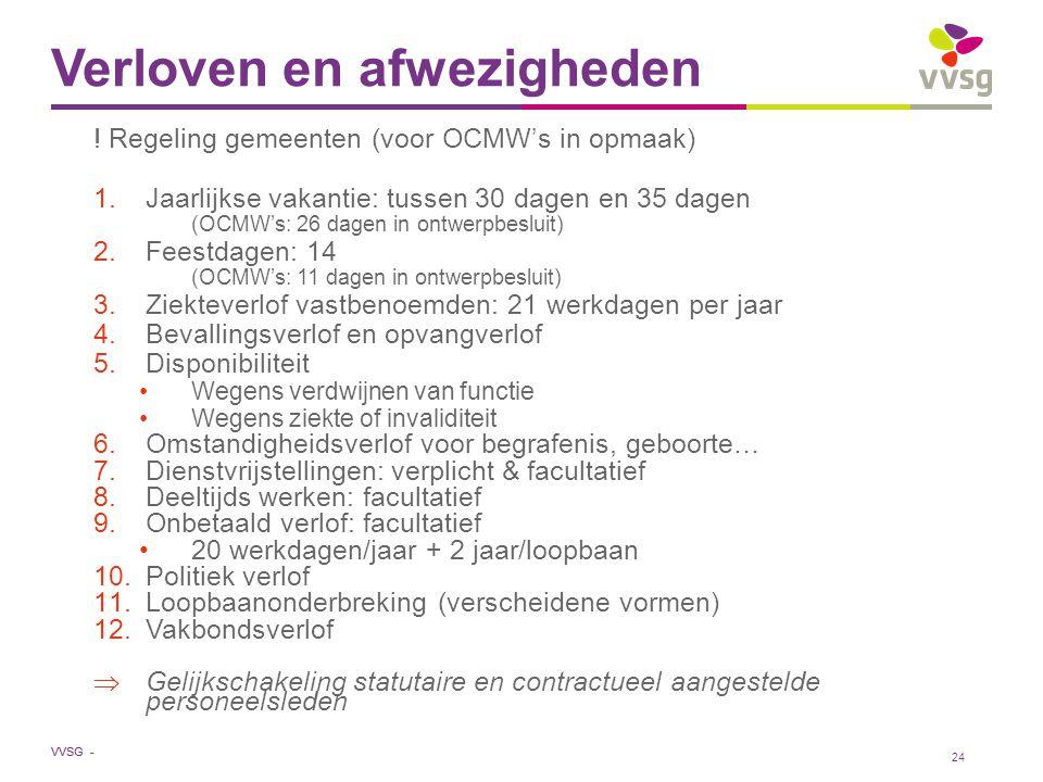 VVSG - Verloven en afwezigheden ! Regeling gemeenten (voor OCMW's in opmaak) 1.Jaarlijkse vakantie: tussen 30 dagen en 35 dagen (OCMW's: 26 dagen in o