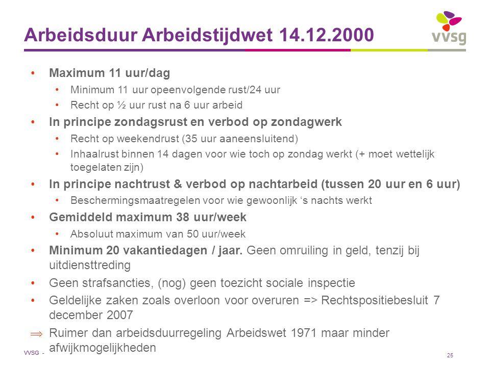 VVSG - Arbeidsduur Arbeidstijdwet 14.12.2000 Maximum 11 uur/dag Minimum 11 uur opeenvolgende rust/24 uur Recht op ½ uur rust na 6 uur arbeid In princi