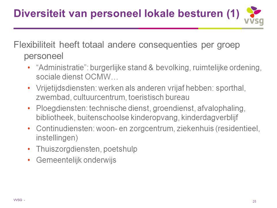"""VVSG - Diversiteit van personeel lokale besturen (1) Flexibiliteit heeft totaal andere consequenties per groep personeel """"Administratie"""": burgerlijke"""