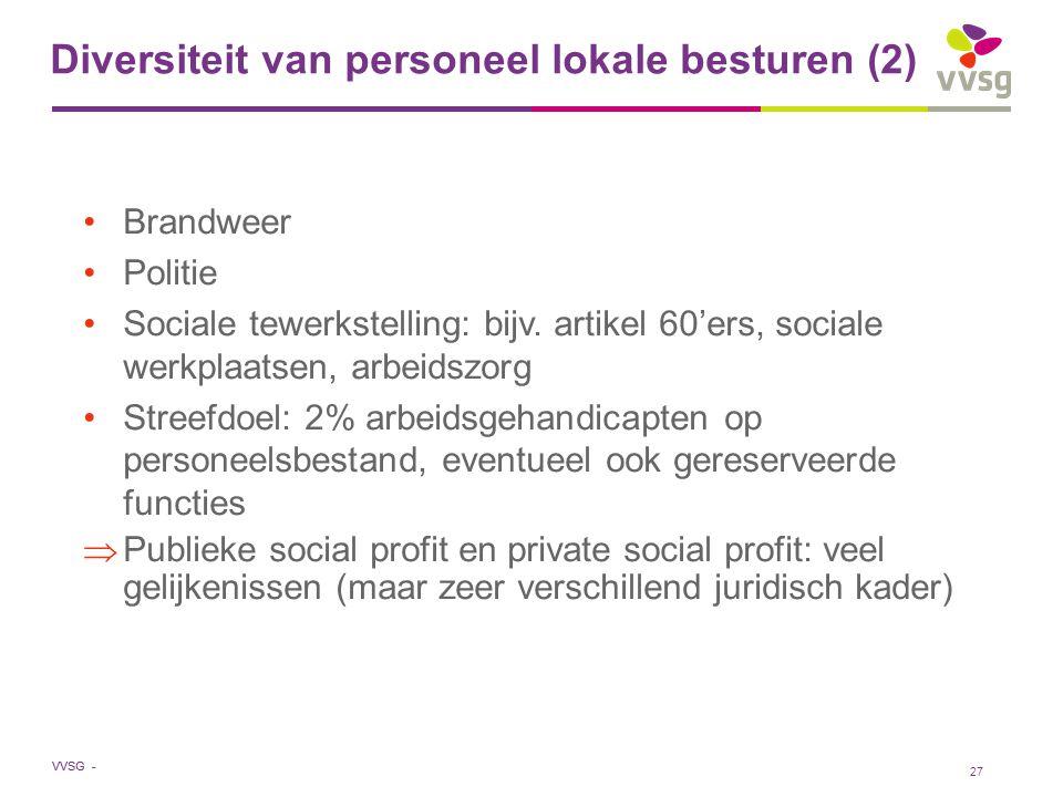 VVSG - Diversiteit van personeel lokale besturen (2) Brandweer Politie Sociale tewerkstelling: bijv. artikel 60'ers, sociale werkplaatsen, arbeidszorg