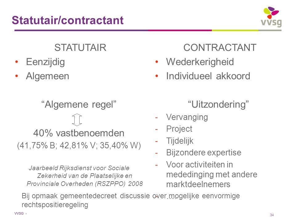 """VVSG - 34 Statutair/contractant STATUTAIR Eenzijdig Algemeen """"Algemene regel"""" 40% vastbenoemden (41,75% B; 42,81% V; 35,40% W) Jaarbeeld Rijksdienst v"""
