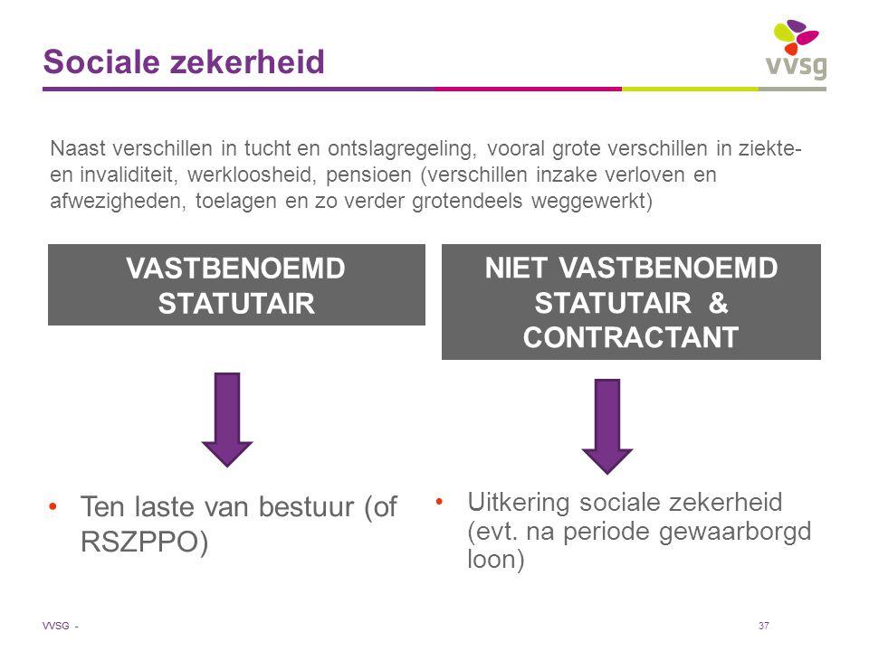 VVSG - Sociale zekerheid VASTBENOEMD STATUTAIR Ten laste van bestuur (of RSZPPO) NIET VASTBENOEMD STATUTAIR & CONTRACTANT Uitkering sociale zekerheid