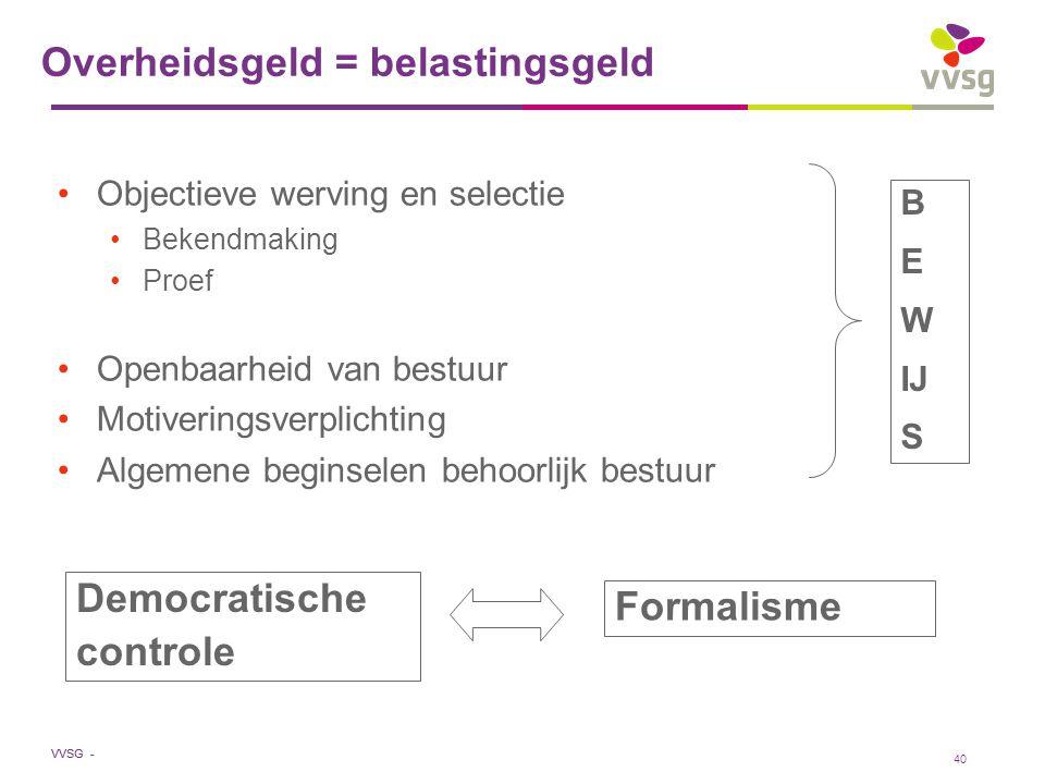 VVSG - 40 Overheidsgeld = belastingsgeld Objectieve werving en selectie Bekendmaking Proef Openbaarheid van bestuur Motiveringsverplichting Algemene b