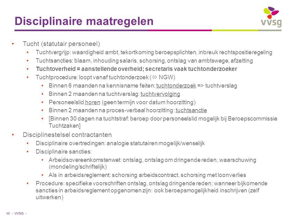 VVSG - Disciplinaire maatregelen Tucht (statutair personeel) Tuchtvergrijp: waardigheid ambt, tekortkoming beroepsplichten, inbreuk rechtspositieregel