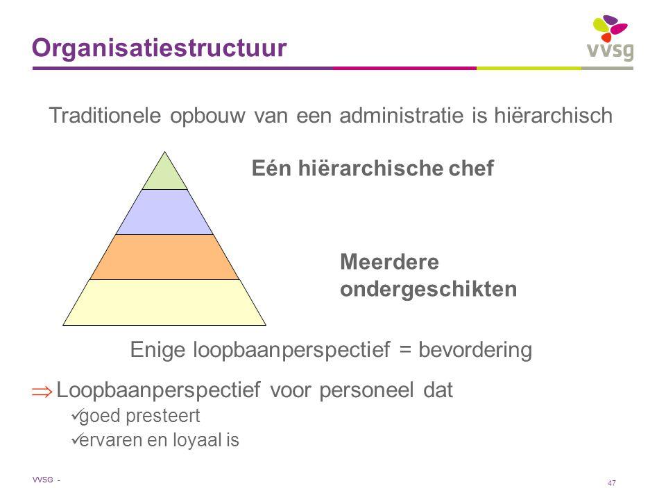 VVSG - 47 Organisatiestructuur Traditionele opbouw van een administratie is hiërarchisch Enige loopbaanperspectief = bevordering  Loopbaanperspectief