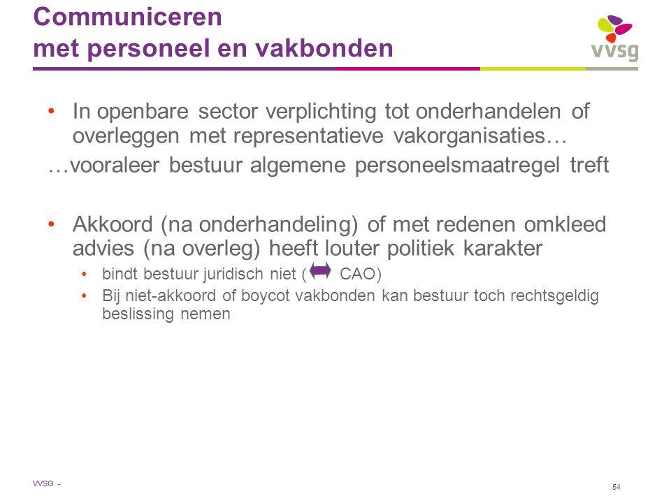 VVSG - Communiceren met personeel en vakbonden In openbare sector verplichting tot onderhandelen of overleggen met representatieve vakorganisaties… …v
