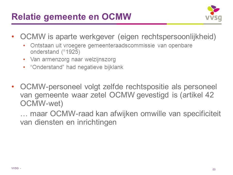 VVSG - Relatie gemeente en OCMW OCMW is aparte werkgever (eigen rechtspersoonlijkheid) Ontstaan uit vroegere gemeenteraadscommissie van openbare onder