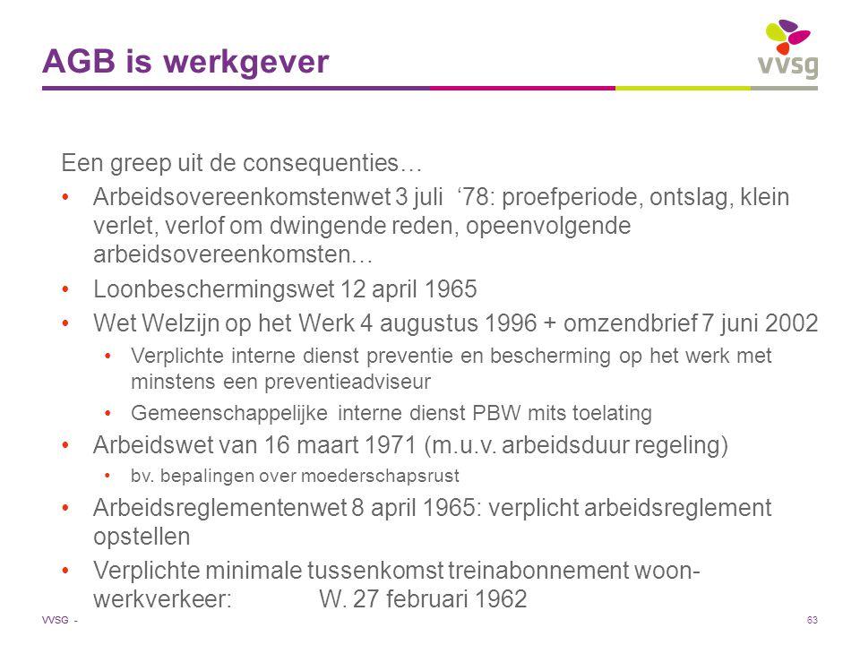 VVSG - AGB is werkgever Een greep uit de consequenties… Arbeidsovereenkomstenwet 3 juli '78: proefperiode, ontslag, klein verlet, verlof om dwingende