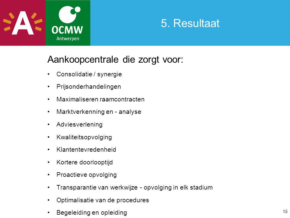 5. Resultaat Aankoopcentrale die zorgt voor: Consolidatie / synergie Prijsonderhandelingen Maximaliseren raamcontracten Marktverkenning en - analyse A