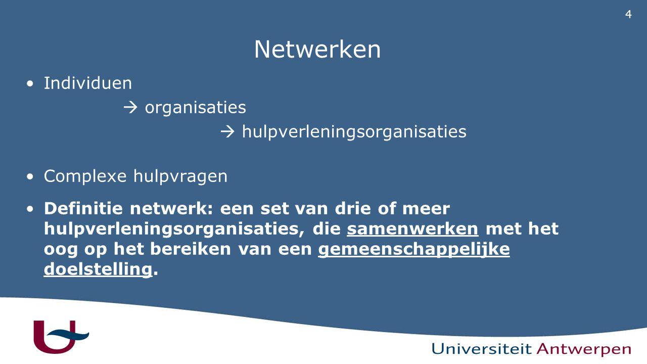 4 Netwerken Individuen  organisaties  hulpverleningsorganisaties Complexe hulpvragen Definitie netwerk: een set van drie of meer hulpverleningsorganisaties, die samenwerken met het oog op het bereiken van een gemeenschappelijke doelstelling.