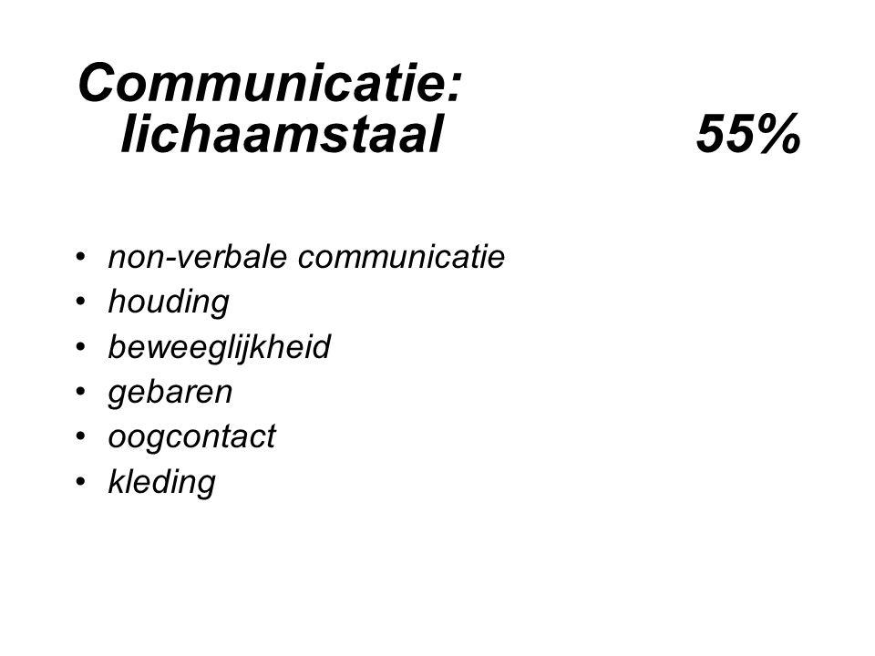 Communicatie: lichaamstaal 55% non-verbale communicatie houding beweeglijkheid gebaren oogcontact kleding
