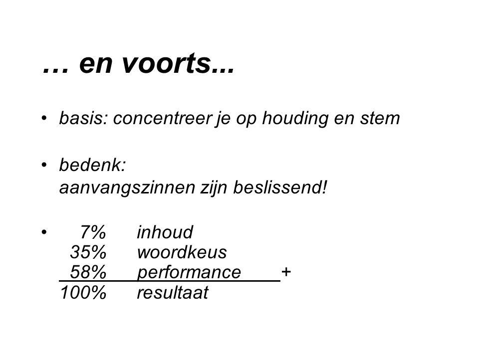 … en voorts... basis: concentreer je op houding en stem bedenk: aanvangszinnen zijn beslissend! 7%inhoud 35%woordkeus 58% performance + 100% resultaat