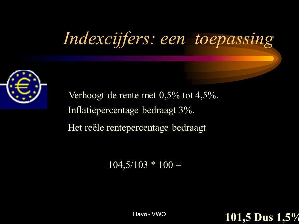 Havo - VWO Indexcijfers: een toepassing Verhoogt de rente met 0,5% tot 4,5%. Inflatiepercentage bedraagt 3%. Het reële rentepercentage bedraagt 104,5/